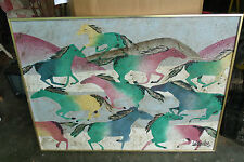 LEE REYNOLDS PAINTING WHICH I CALL WILD HORSES SIGNED OIL PAINTING