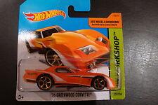 Hot Wheels diecast '76 Greenwood Corvette #237/250 BFF14 hw workshop 2014 series