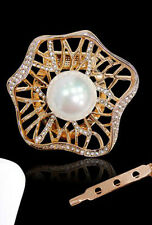 GORGEOUS 18K GOLD PLATED & GENUINE SWAROVSKI CRYSTAL PEARL SCARF CLIP OR BROOCH
