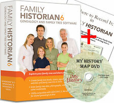 Family Historian 6 Deluxe Genealogy Software + Where to Record It + Map DVD