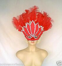 Handmade Red Sateen and Silver Sequin Over Sized Face Mask with Red Feathers