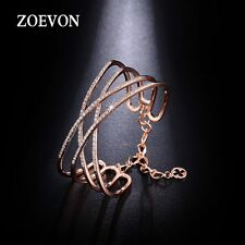 New Fashion Women Crystal Cross Cuff Bangle Chain Wide Bracelet Charm Jewelry