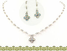 Swarovski Elements Crystal Clear White Clover Pearl Necklace Earrings Combo Gift