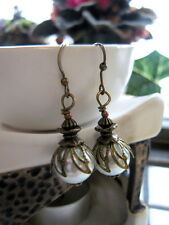 WHITE PEARL EARRINGS~CZECH GLASS FRENCH Vintage style antique dangle FLAPPER
