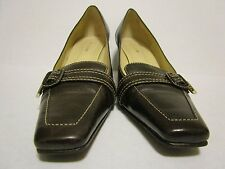 Ann Taylor Brown Leather Classic Loafer Buckle Heel Pump size 7.5 M