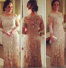2017 Long Sleeve Lace Champagne Plus Size Pageant Gowns Evening Dress Custom