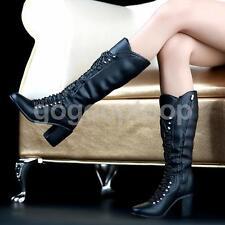 """1/6 Negro con Cordones Bloque talón Botas Altas Zapatos para 12"""" Hot Toys Phicen Kumik"""