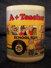 """TEACHER GIFT MUG  A+ Teacher  School Bus Children Christmas Gift Yellow 4 1/2"""""""
