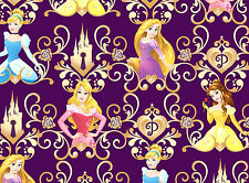 DISNEY PRINCESS SCROLL COTTON FABRIC  BELLE AURORA  RAPUNZEL CINDERELLA  YARDAGE