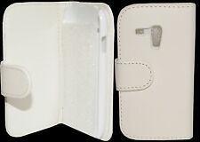 White Leather Wallet Flip Pouch Case Cover for Samsung Galaxy S3 SIII Mini i8190