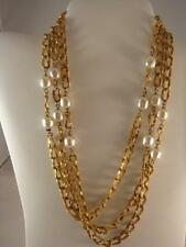 Miriam Haskell Faux Baroque Pearl Link Necklace 58 in. Detailed Goldtone w/Tag