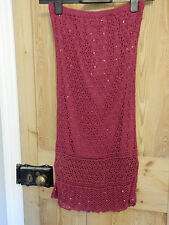Lovely Oasis Crochet Skirt with sequins in Bright Fuchsia Pink Size 10 VGC