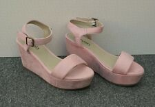 NEW Pale Pink Faux Suede Wedge Sandals Size 6