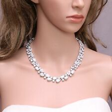 Studding Fashion Teardrop Platinum Plated Cubic Zirconia Necklace Birthday Gift