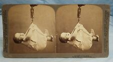 "1901 Stereoview Card ""Some are Born Great"" Baby Being Weighed Underwood"