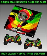 PLAYSTATION PS3 SLIM STICKER RASTA MAN DREADLOCK WEED MAN SKIN & 2 PAD SKINS