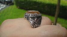 Gorgeous Genuine Agate Special Design Men's Ring In Sterling Silver Size 12