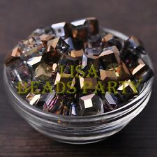 Hot 10pcs 10mm Cube Square Crystal Glass Loose Spacer Beads Bronze Colorful