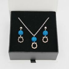Indianapolis Colts Jewelry Shamballa Bead Crystal Necklace and Earrings Set