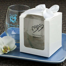 30 !!WITH BOXES!!! Personalized 9 Oz. Stemless Wine Glass Wedding For Guests