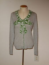 MOTH ANTHROPOLOGIE GRAY BOW INTARSIA SNAP BUTTON WOOL BLEND CARDIGAN SWEATER S
