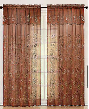 Cinnamon and Gold Embroidered Sheer Window Curtain Panel: Attached Valance