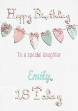 Personalised birthday card 16 18 21 40 any age any name daughter grandaughter f