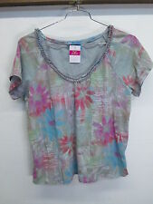 Fresh Produce Happyness Ruffle V-neck Batik Stardust shirt blouse top women's 2X