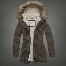 NWT Abercrombie Fitch Bella Parka Coat Jacket Outwear, color:Brown, size: Medium