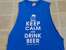 KEEP CALM And Drink Beer T-SHIRT Mens MED Brewfest 2013 Portland Oregon Blue M