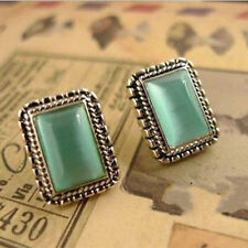 New Chic Women Vintage Retro Emerald green opal Earrings Shine Ear Stud