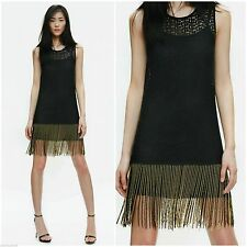 ZARA WOMEN BLOGGERS BLACK CROCHET LACE DRESS WITH BEADED TASSEL FRINGE SIZE XS
