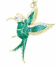 Art Deco style green enamel hummingbird bird necklace with sparkly crystal