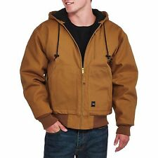 Walls Men's Insulated Duck Canvas Jacket hooded pecan work wear L Large size