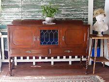 Vintage Silky Oak Jacobean Style Sideboard / Buffet / Display Cabinet / Cupboard