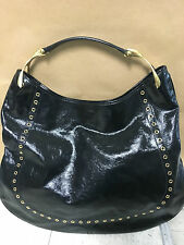 "ALEXANDER MCQUEEN HOBO WISHBONE BLACK PATENT LEATHER  HANDBAG ""AUTHENTIC"""