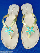 NEW 7 MYSTIQUE Turquoise Beyond the Sea Crystal Starfish Sandals Thong Flip Flop