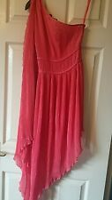 Womens polyester peach dress featuring one arm by Moda International size S