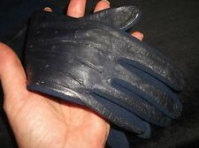 LADIES VINTAGE NAVY GLOVES FOWNES FASHION SMALL SOFT FAUX LEATHER BACK