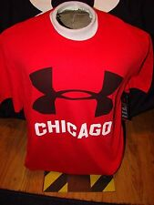 NEW UNDER ARMOUR RED BLACK CHICAGO ILLIONIS WINDY CITY SHORT SLEEVE SHIRT XL !!!