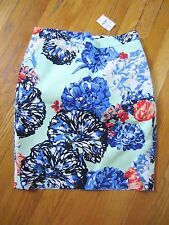 J.Crew Factory Pencil Skirt Hydrangea Floral Basketweave Blue Green Flower 6 NWT