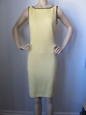 NEW ST JOHN KNIT SIZE 4 WOMENS DRESS SANTANA KNIT YELLOW PALE SUNSHINE SHEATH