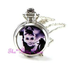 Miniature Silver Audrey Hepburn Pocket Half Hunter Steampunk Necklace Fob Watch