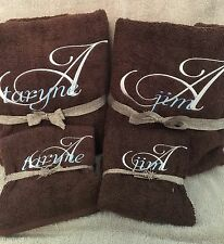 BATH TOWEL SET BATHROOM MONOGRAMMED PERSONALIZED FREE SET OF 3 BRAND NEW