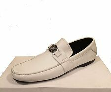 Versace Men's White Loafer Leather Italy Car Shoes Sz 12 Driving Moccasins