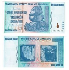 100-trillion Zimbabwe dollars unc banknote 2008 AA & letter of authenticity