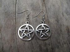 Antique silver Pentagram supernatural Pentacle Earrings Handmade h010