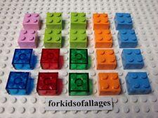 LEGO 2x2 Dot BRICKS LOT Pink Lime Orange Med. Blue Translucent Red Green Blocks