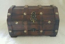 Vintage Mid Century Pirate Jewelry Box Wooden Treasure Chest Trinket Insert Tray