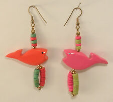 Wooden Fish Pierced Earrings Made in the Philippines New Dangle Style
